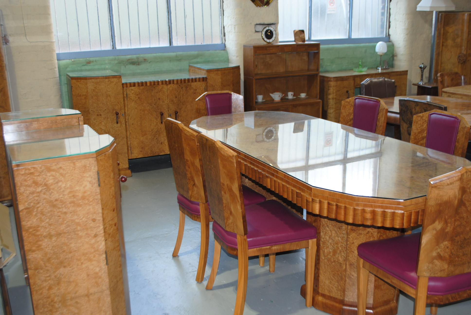 Art deco dining table 6 chairs sideboard and server for Table 6 to 9