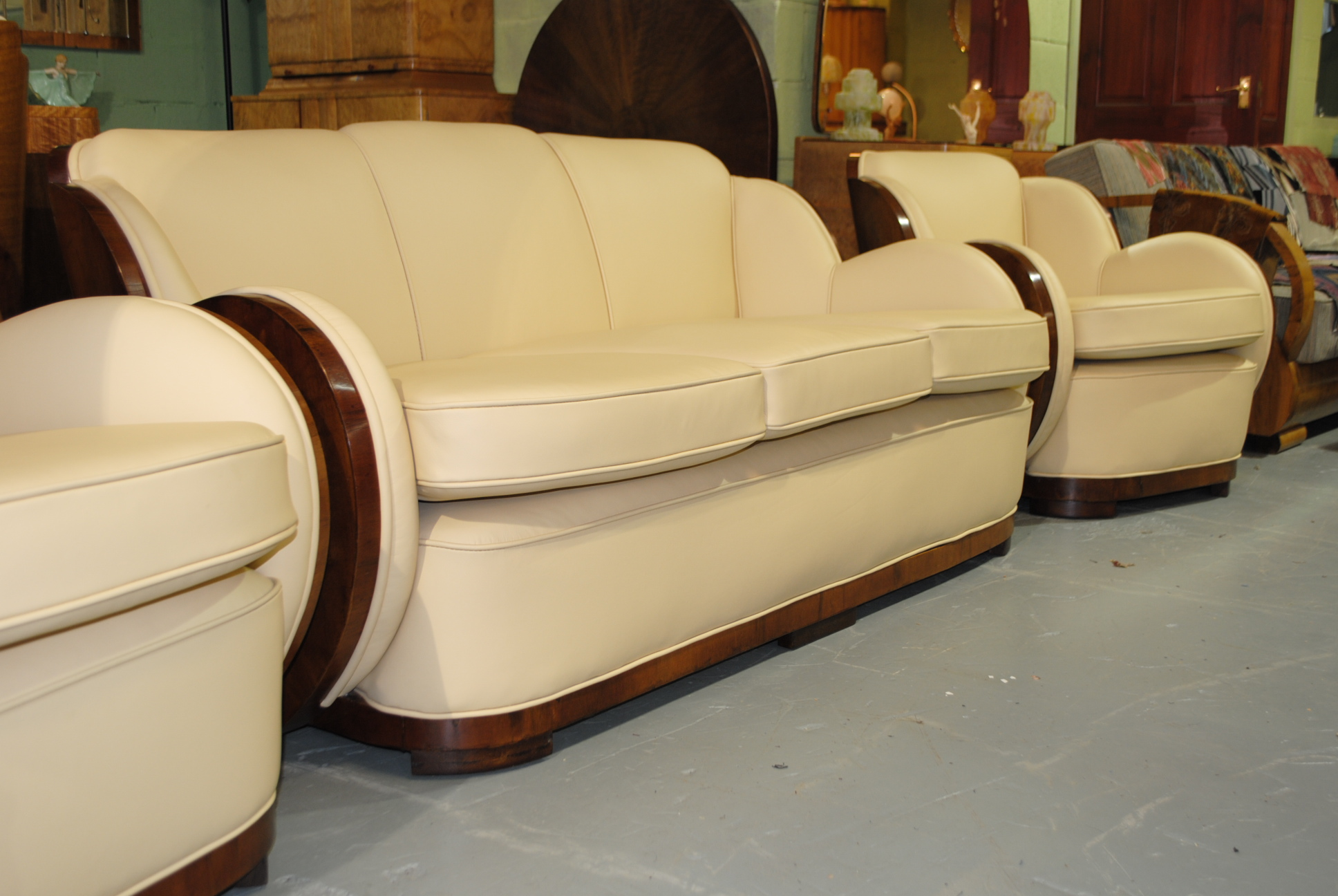 Epstein walnut cloudback 3 piece suite cloud 9 art deco furniture sales - Epstein art deco furniture ...
