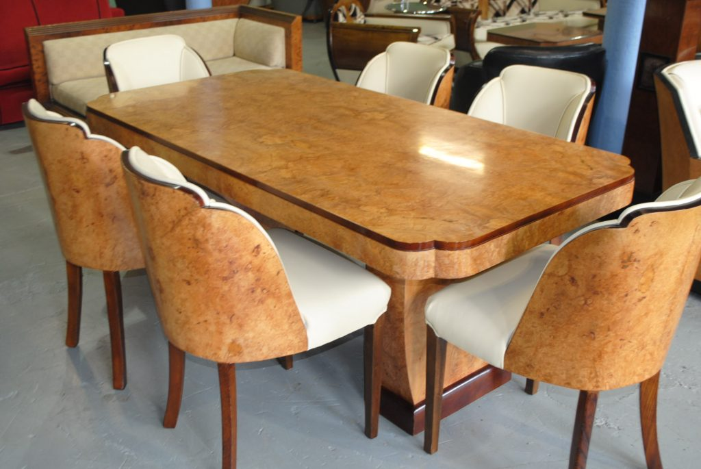 Art deco cloudback dining table and chairs cloud