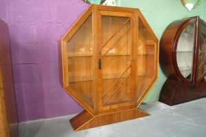 Original Art Deco Octagon shaped display cabinet