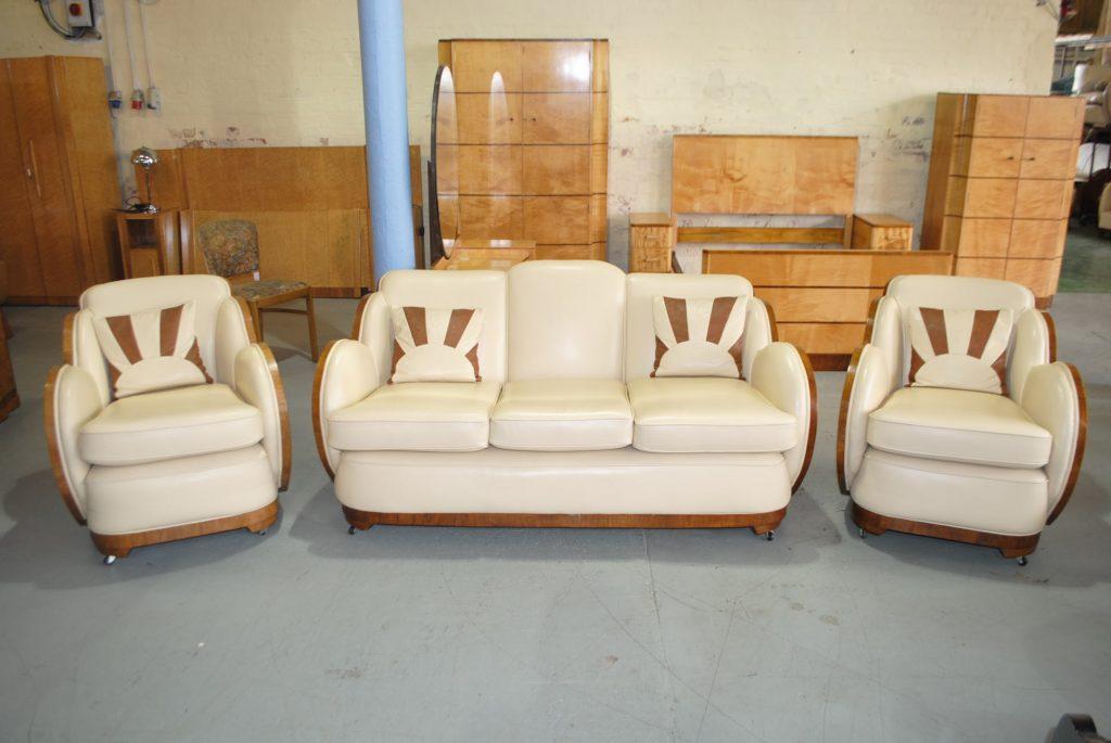 Art Deco Epstein Cloudback 3 piece suite with Burr Walnut Back
