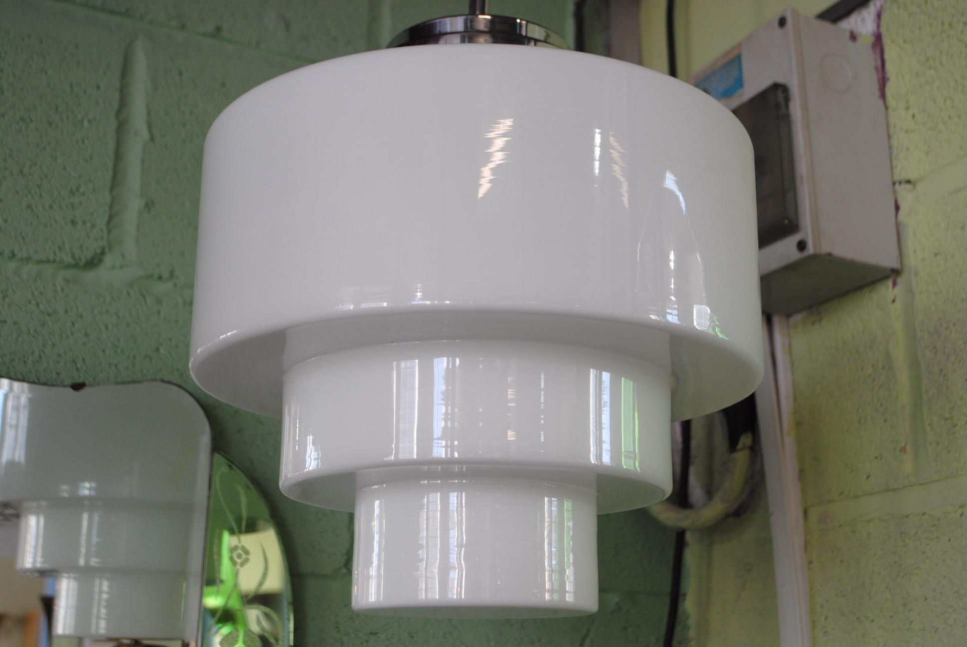 Art Deco Ceiling Light With Stepped Glass Shade Cloud 9