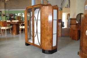 Art Deco Walnut Display Cabinet with Glass sides
