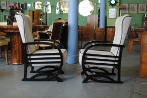 Pair of Art Deco Reclining Chairs