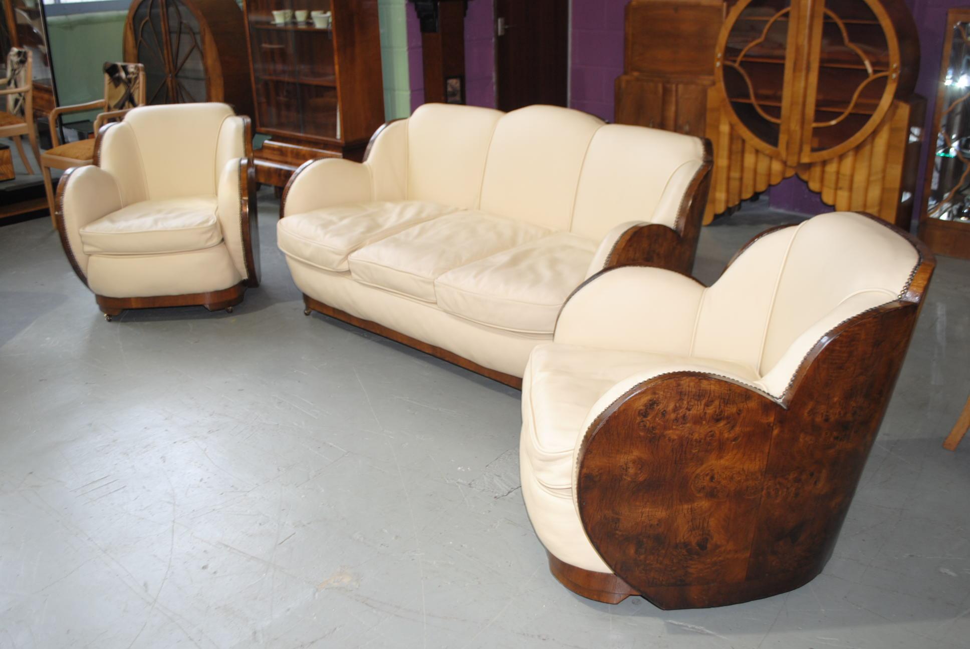 Art Deco Walnut Cloudback 3 Piece Suite Cloud 9 Art