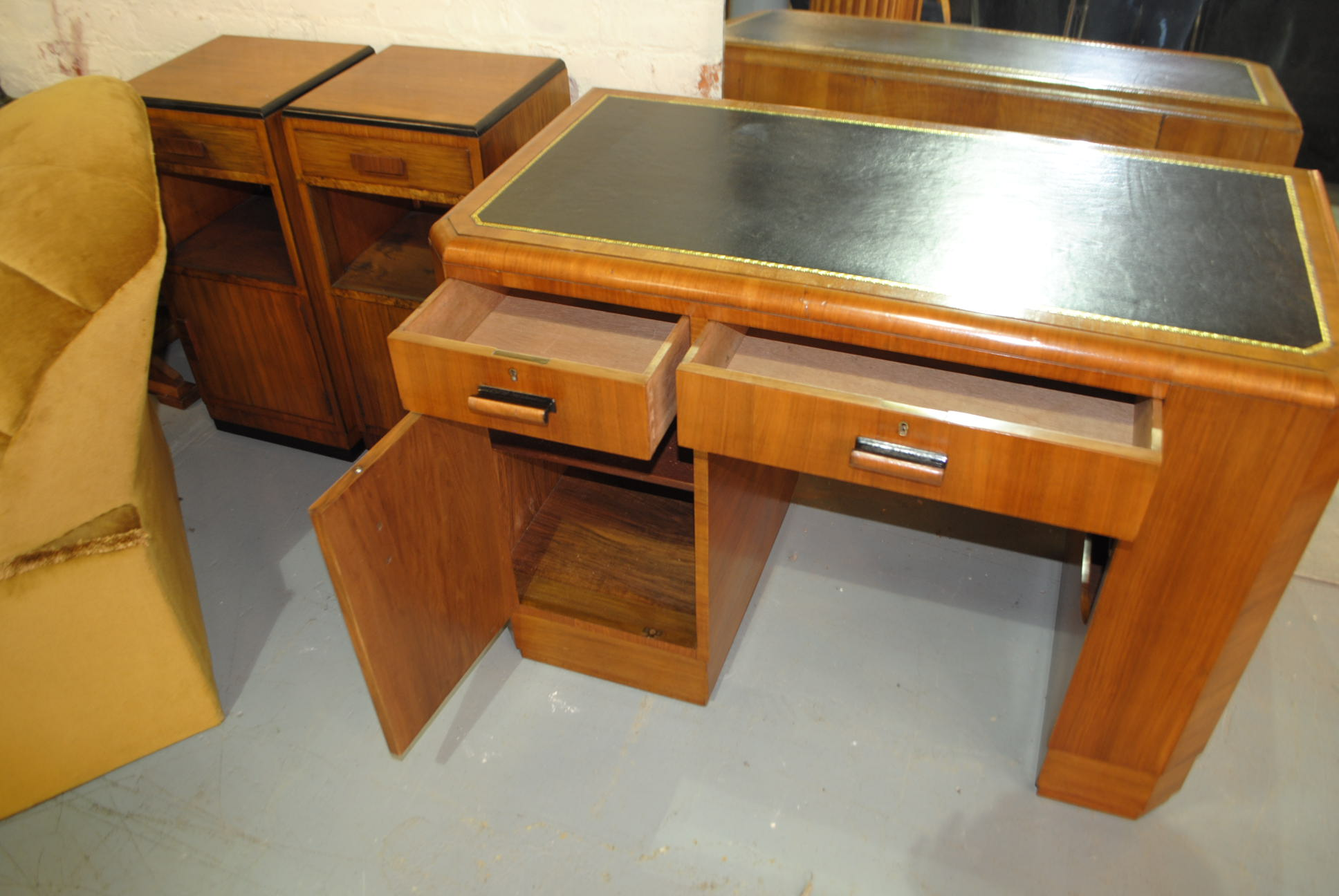 Art Deco Walnut Desk Cloud 9 Art Deco Furniture Sales
