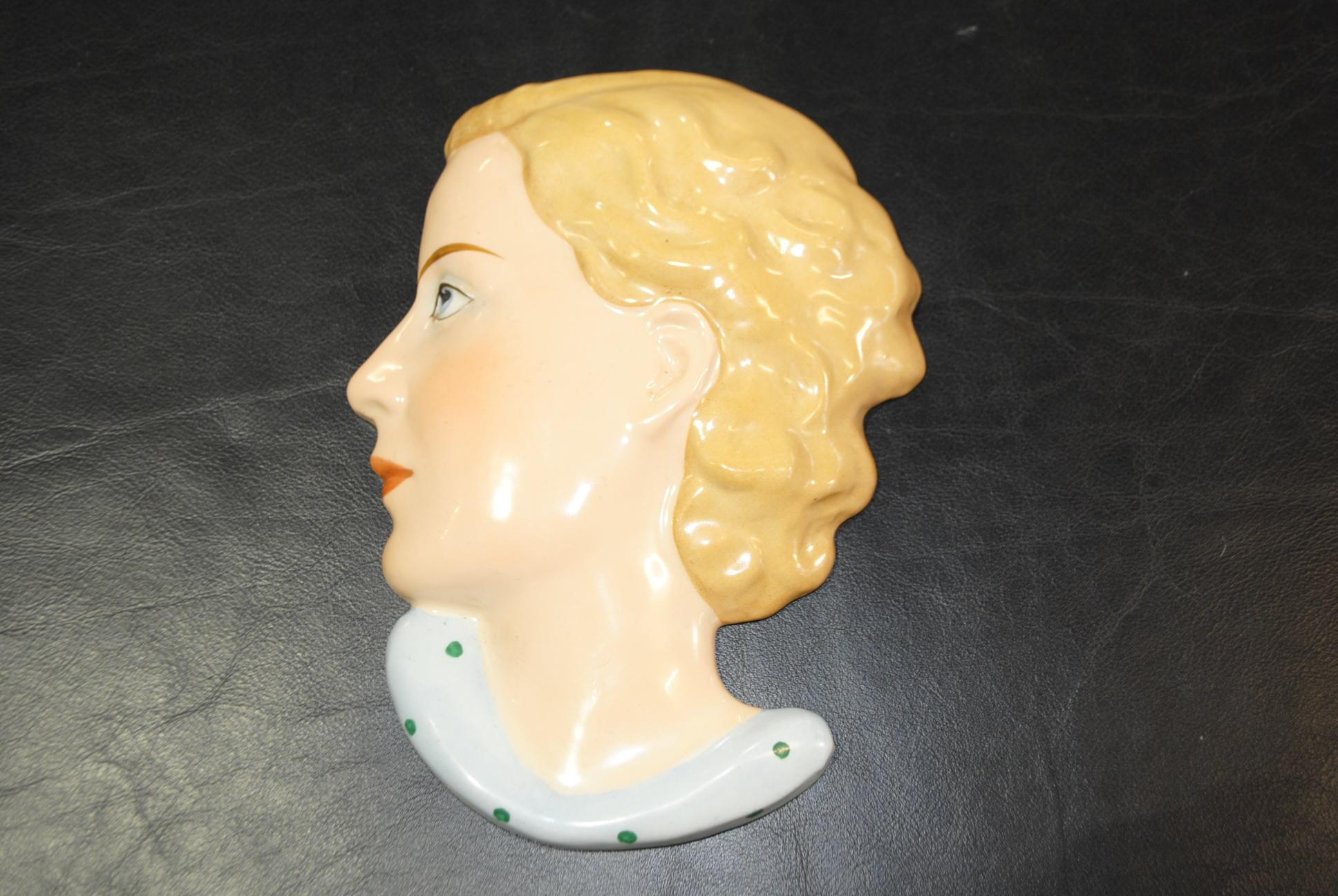 Art Deco Royal Dux Wall Mask || Cloud 9, Art Deco Furniture Sales