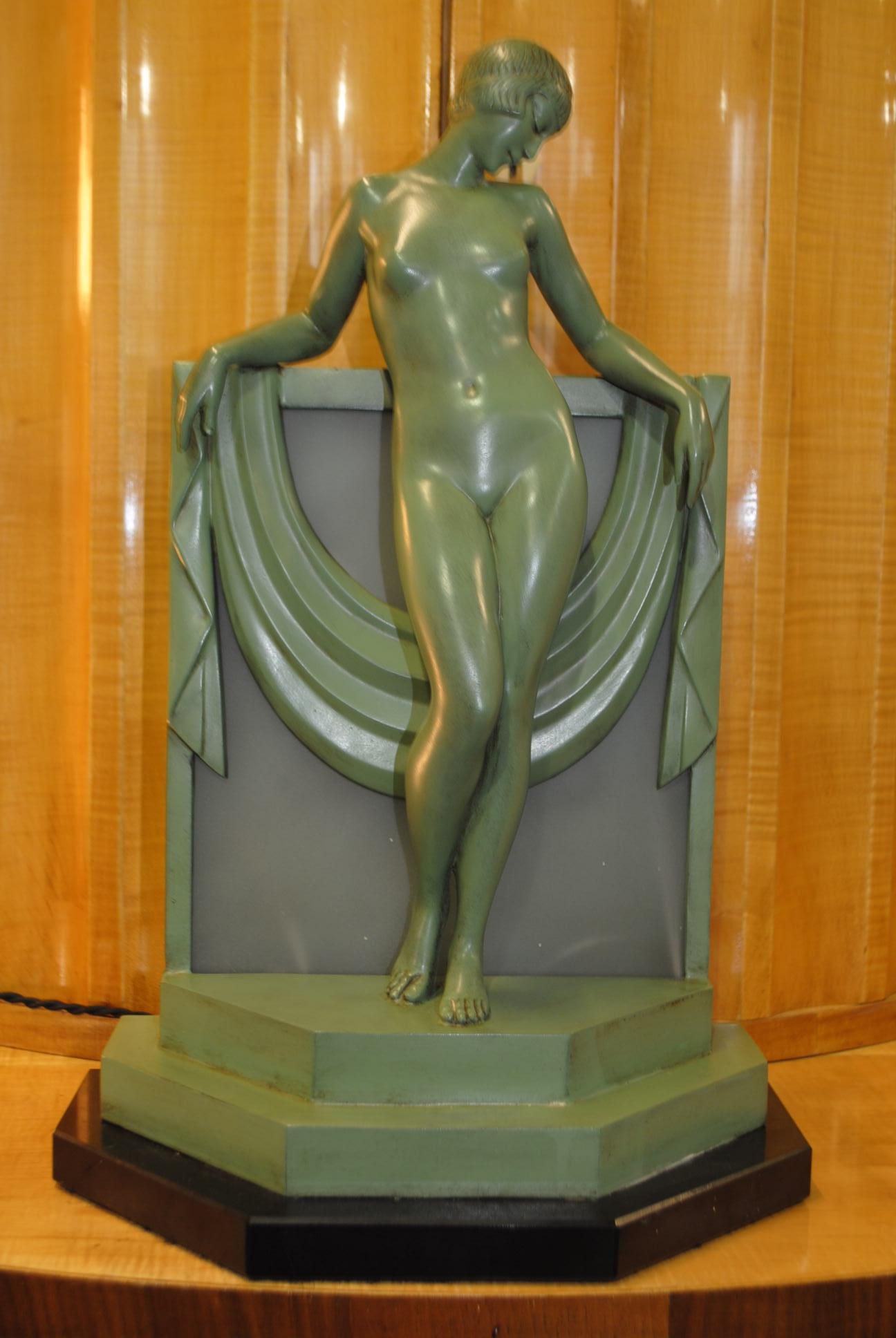 Art Deco Figural Lamp Pierre Le Faguays Serenite