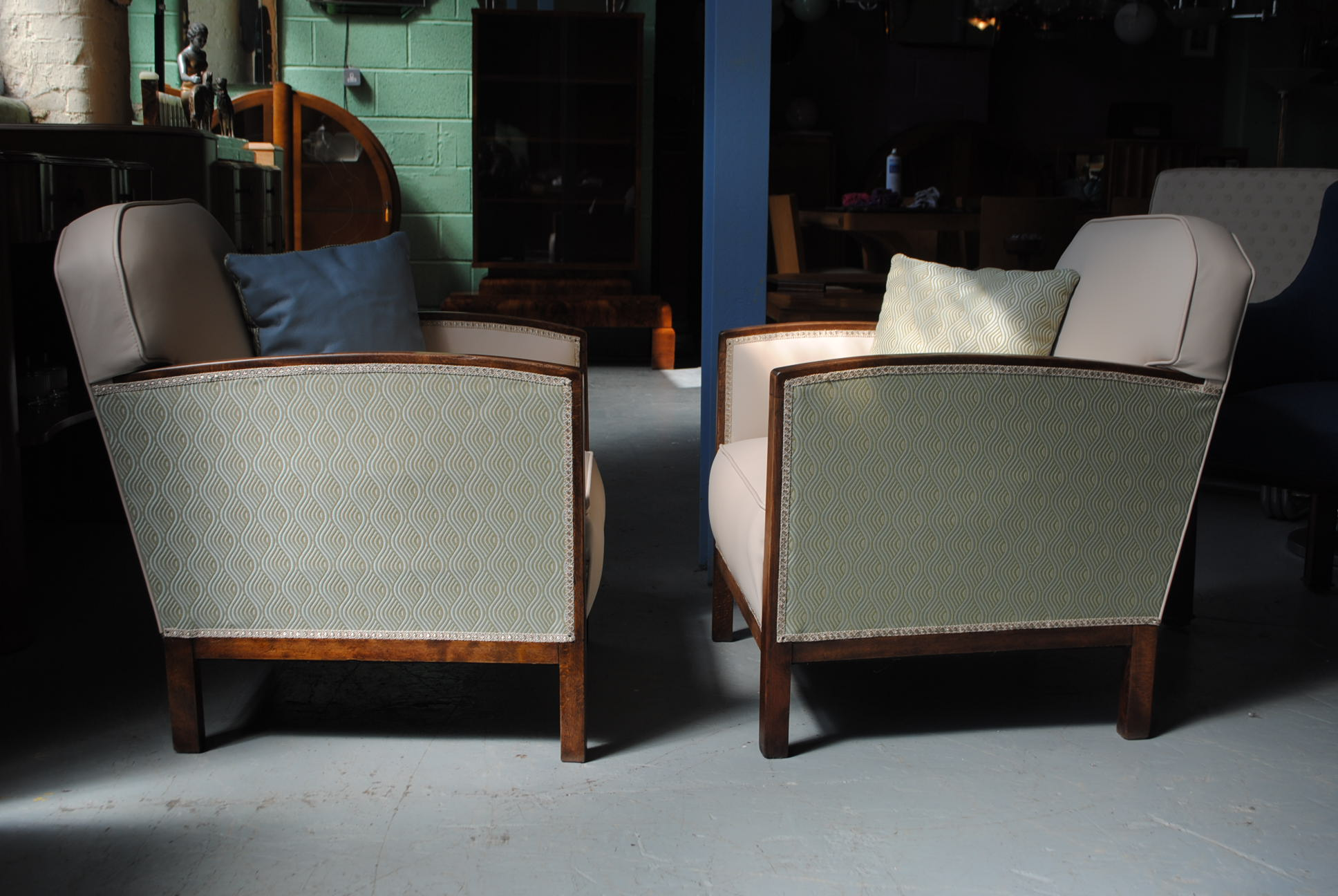 Pair Of Art Deco Fireside Chairs Cloud 9 Art Deco