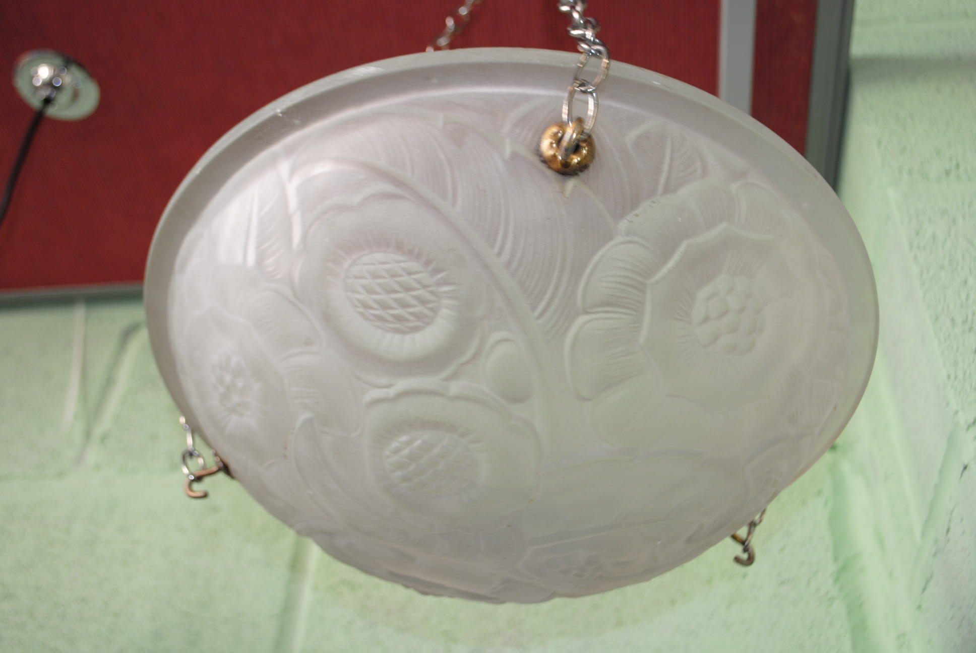 Art Deco Ceiling Light French Pressed Glass Cloud 9