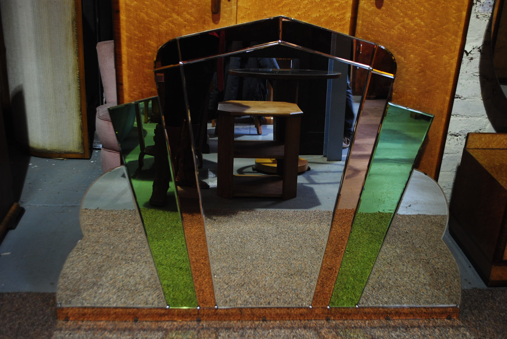 Art Deco Large Mirror With Green And Copper Glass Cloud