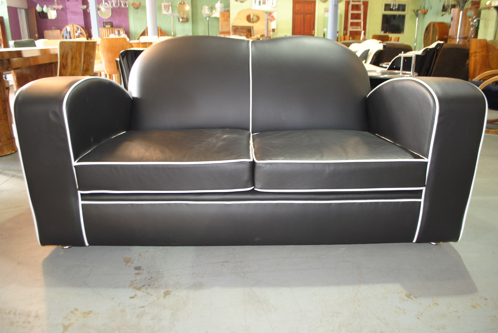 Art Deco Leather Sofa Cloud 9 Art Deco Furniture Sales