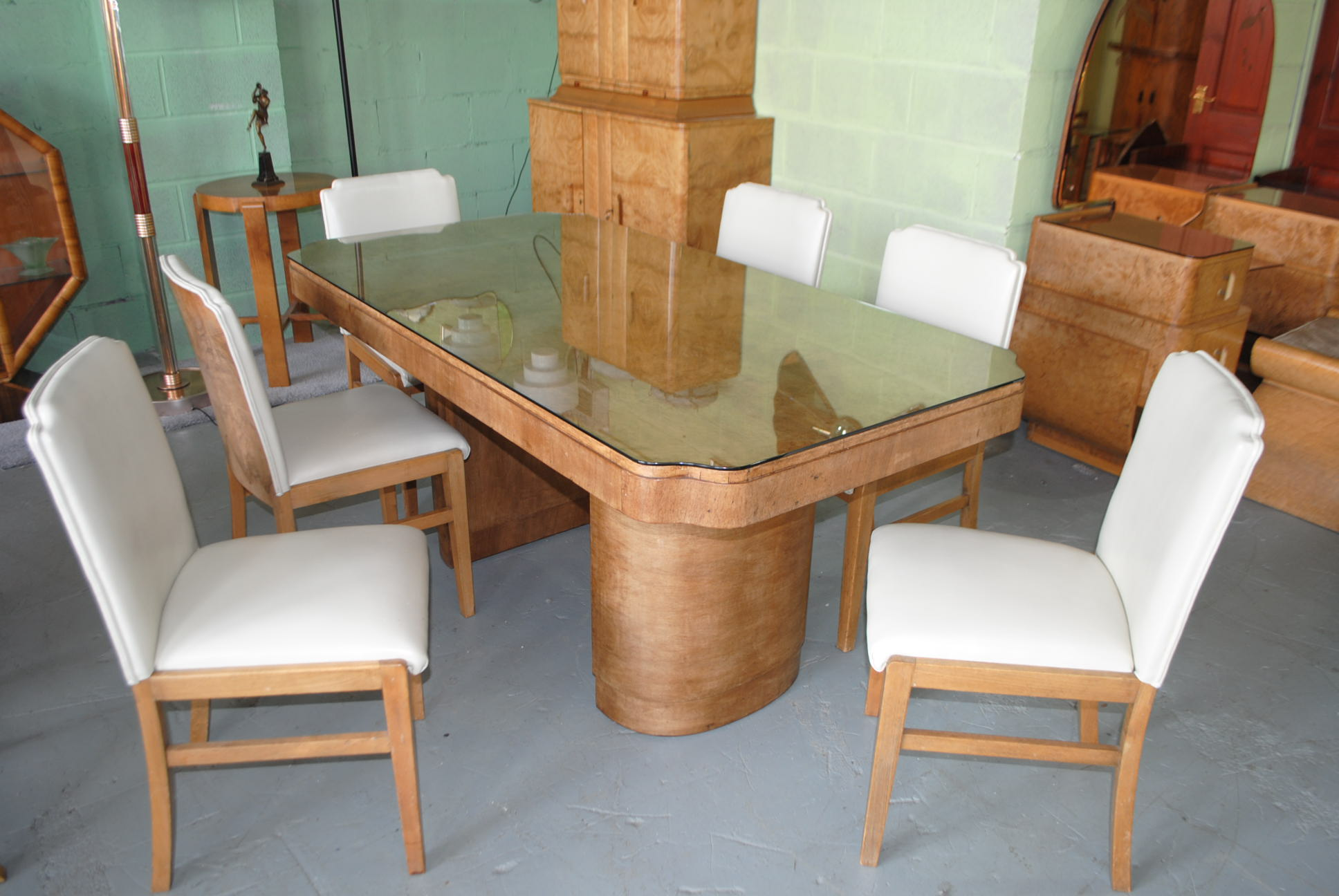 Art deco epstein dining table and 6 chairs cloud 9 art deco furniture sales - Epstein art deco furniture ...