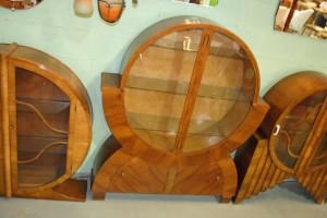 Original Art Deco Walnut Display Cabinet With Lovely Circular Shape Top And  Handy Cupboards Below, Very Unusual